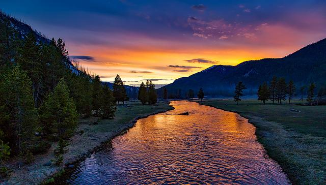 River, Mountains, Sunset, Dusk, Twilight, Trees