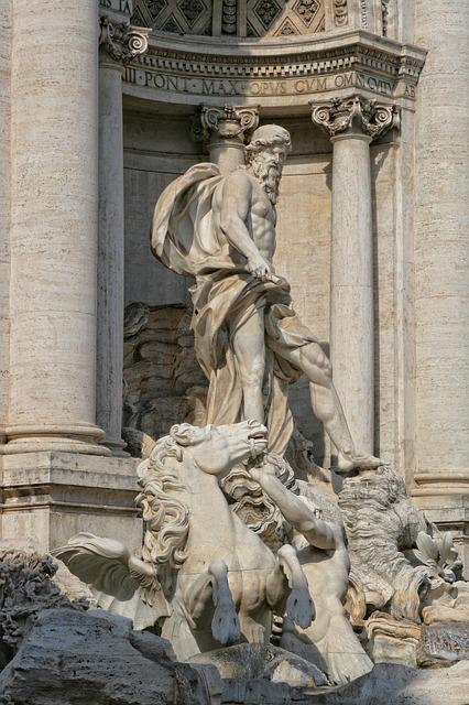 Italy, Rome, Trevi Fountain, Sculpture