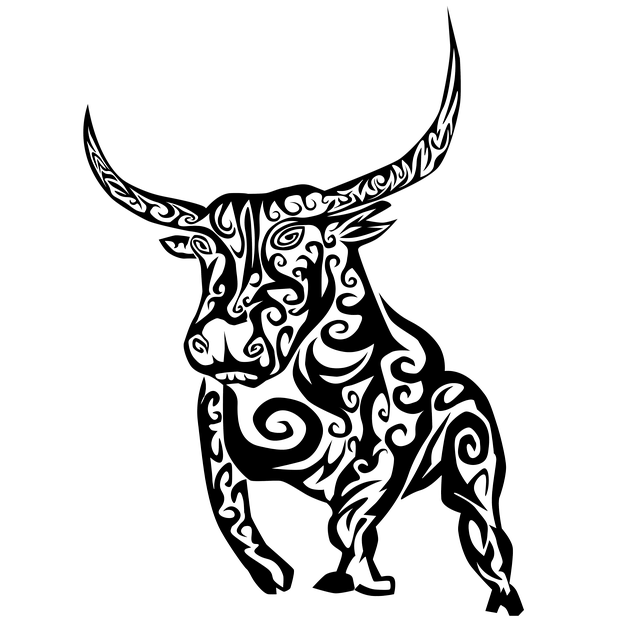 Bull, Tribal, Tribal Bull, Black, Outline, Silhouette