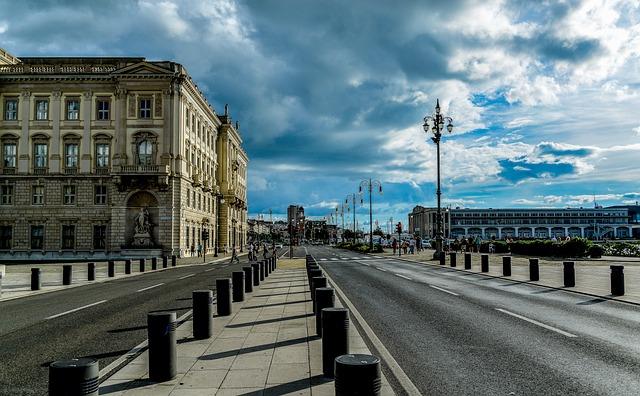 Trieste, Landscape, Piazza, Road, Clouds