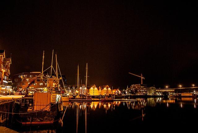 Norway, Tromso, Port, Boats, Polar Night
