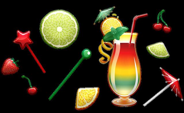 Tropical Drink, Cocktail, Lemon, Lime, Umbrella