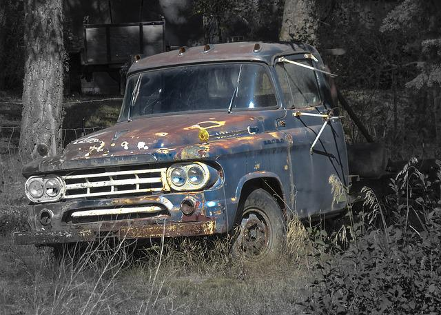 Car, Truck, Automobile, Vehicle, Rusty, Forgotten