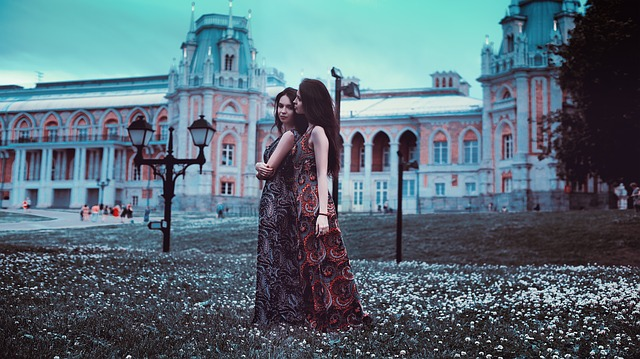 Twins, Moscow, Sisters, Russia, Grass, Tsaritsyno