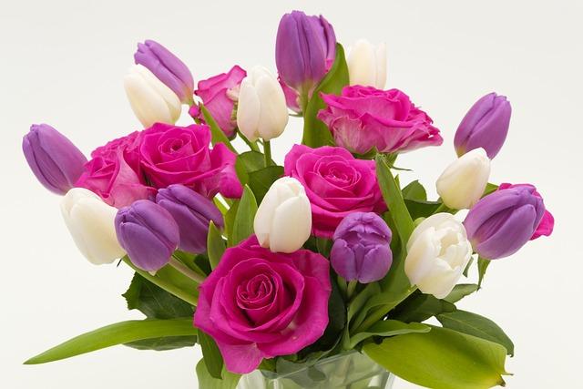 Bouquet, Bouquet Of Roses, Tulip Bouquet, Roses, Tulips