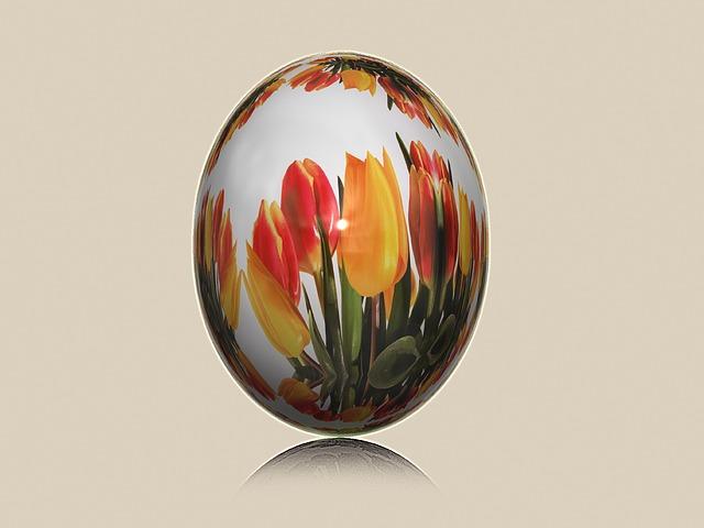 Egg, Easter Egg, Painted, Easter, Tulips, Egg Hunt