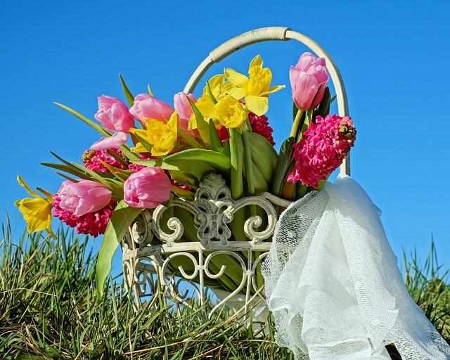 Bouquet, Flowers, Osterglocken, Tulips, Hyacinth