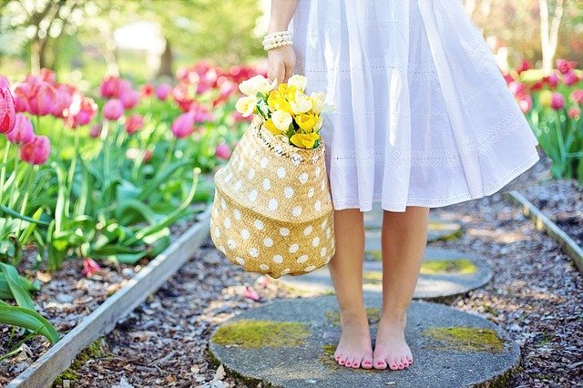 Spring, Tulips, Pretty Woman, Young Woman, Flowers