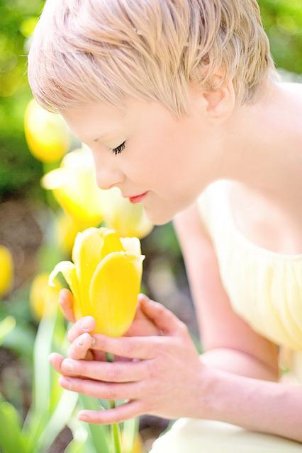 Tulips, Yellow, Blonde, Pretty Young Woman, Spring