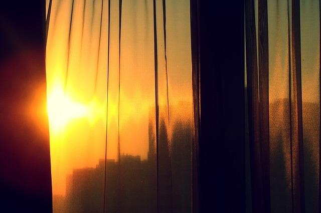 Sun, Tulle, Window, Sunset