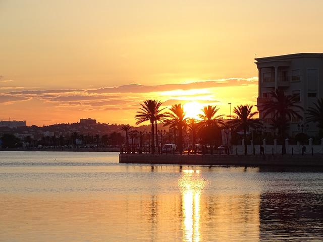 Tunisia, Tunis, Lake Of Tunis, Sunset