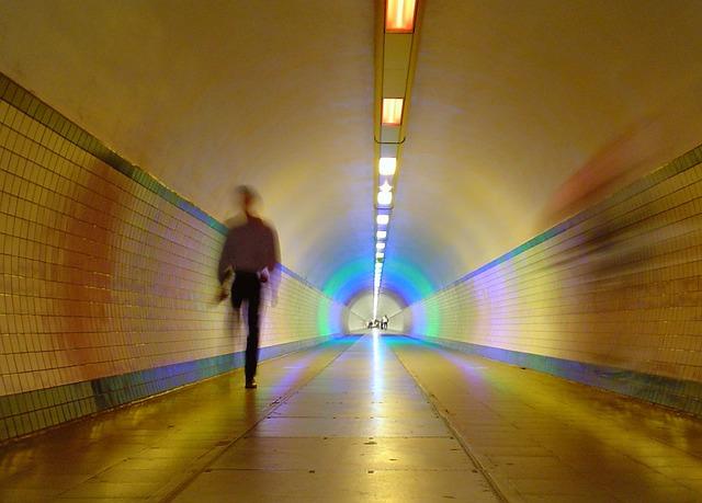 Antwerp, Belgium, Tunnel, Man, Lights, Lighting