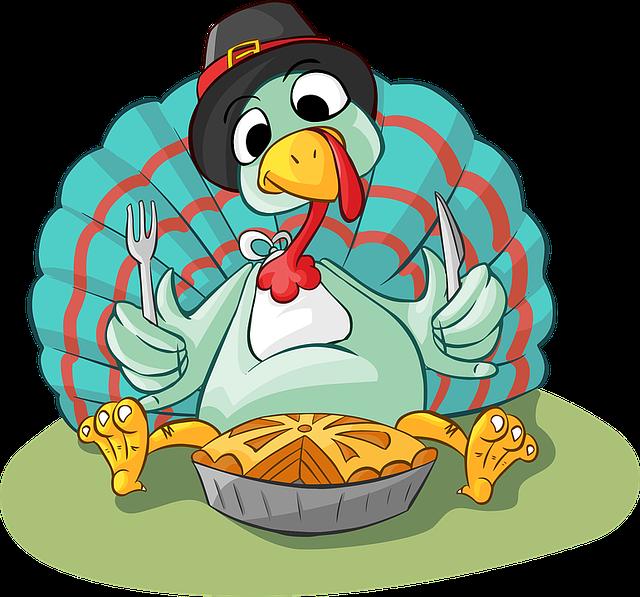 Pie, Turkey, Eating, Fork, Knife, Hat, Sitting, Dinner