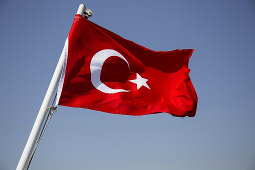 Flag, Red, White, Moon And Star, Turkish, Month, Sky
