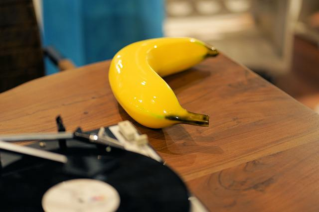 Banana, Setup, Glass, Yellow, Turntable, Wood, Table
