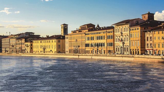 Arno, Pisa, Full, River, Lungarno, Tuscany, Sunset
