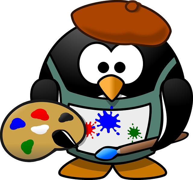 Painter, Tux, Art, Artist, Beret, Blotch, Brush, Colour