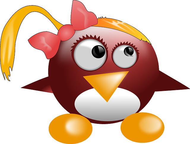 Penguin, Tux, Animal, Cute, Linux, Mascot, Logo, Girl