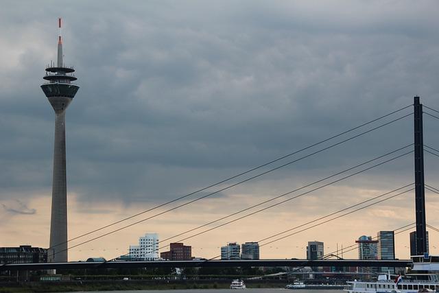 Düsseldorf, Tv Tower, Rhine, Sky