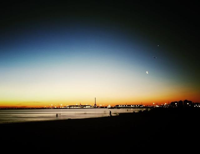 Night, Cityscape, Beach, Sea, Twilight, Tourism
