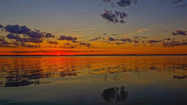 Sunset, Water, Dawn, Nature, Panoramic, Twilight