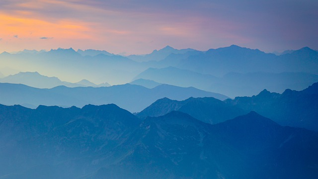 Mountains, Twilight, Panorama, Distant View, View, Haze
