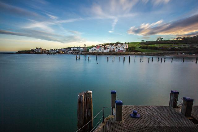 Swanage Bay, Ocean, Pier, Twilight, Dorset, England