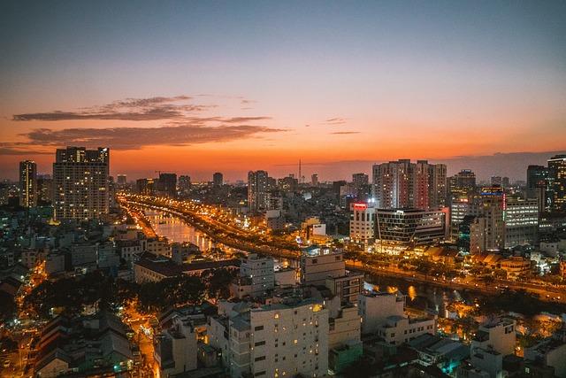 Vietnam, Me Ho Chi, Saigon, Twilight, Cityscape