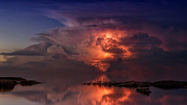 Thunderstorm, Ocean, Night, Twilight, Blue Hour, Clouds