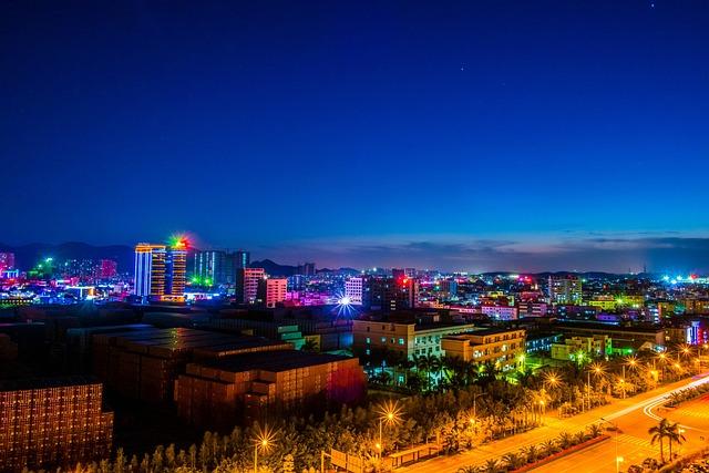 Night View, Light, Twilight, Lights, Pingshan, Shenzhen