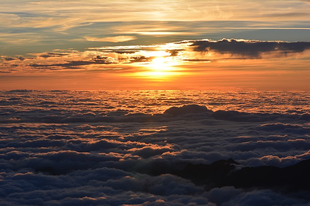 Sunset, Sea ​​of ​​clouds, Clouds, Twilight