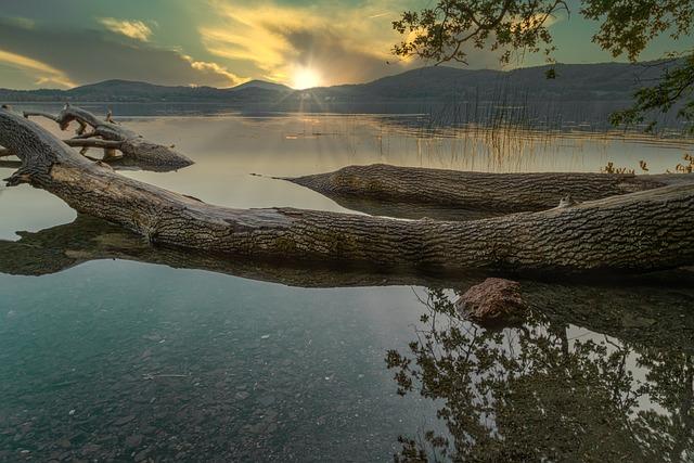 Sunset, Twilight, Laacher Lake, Rhineland Palatinate