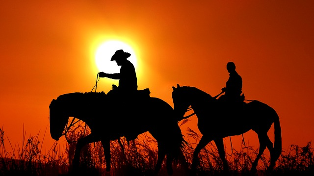 Sunset, Riders, Silhouette, Nature, Landscape, Twilight