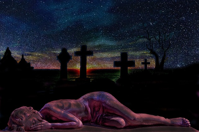 Cemetery, Grave, Tombstones, Sunset, Twilight, Sad
