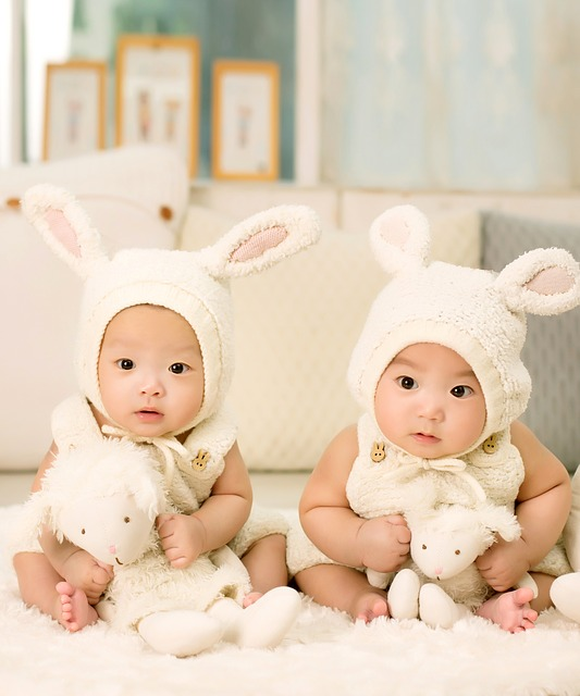 Babies, Twins, Brother, Sister, Siblings, Cute, Bunny