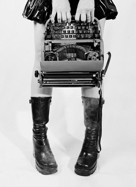 Conceptual, Typewriter, Goth, Boots, Legs, Ribbon