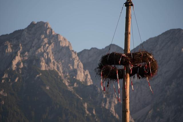 Mountains, Rock, Tyrol, Customs, Maypole, Wreath