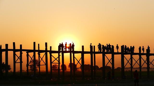 U Leg Bridge, Teak Bridge, Old, Sunset, Human