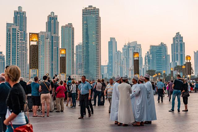 Downtown, Dubai, Uae, Tourism, City, People, Buildings