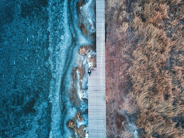 Travel, Aerial, Uav, The Ice, Riverside