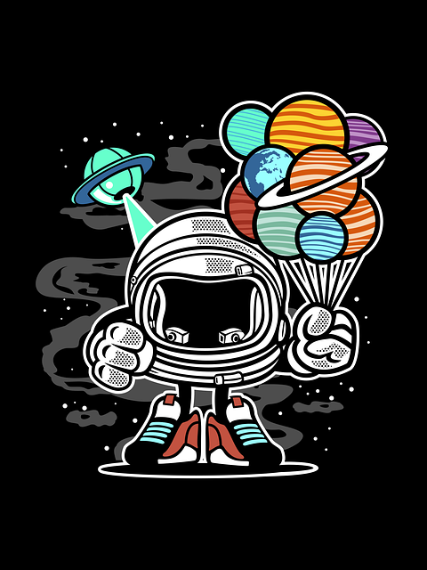 Robot In Space, Cartoon, Planets, Space Baloons, Ufo