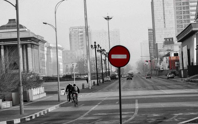 Street, Road, Stop Sign, Ulaanbaatar, Mongolia, Morning