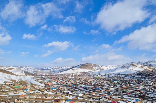 Suburb, Mongolia, Ulaanbaatar, Blue, Grassroots, Clouds