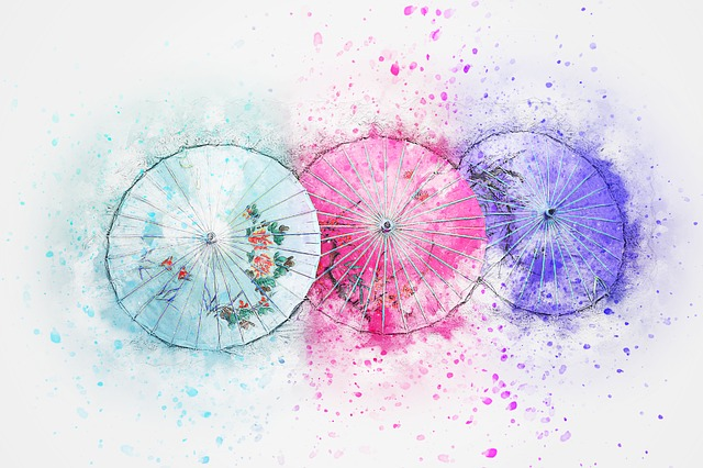 Umbrella, Art, Abstract, Watercolor, Vintage, Nature