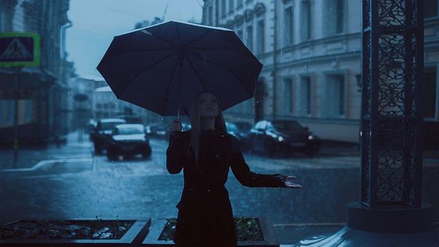Girl, Umbrella, Rain, Park, Autumn, Blue, Rainy Day