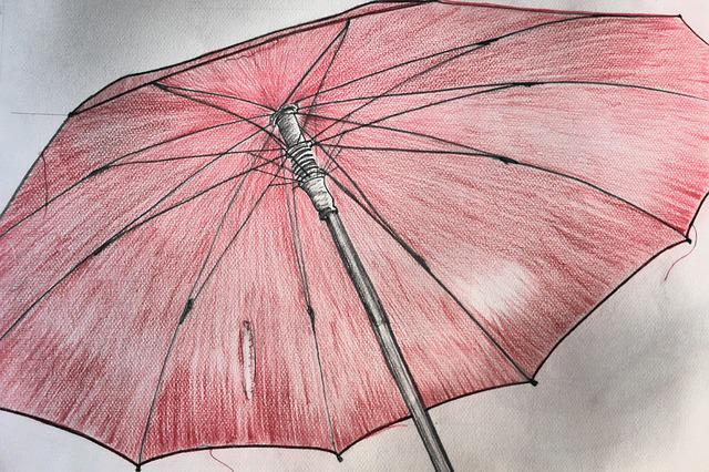 Screen, Umbrella, Red, Drawing, Image, Stretched
