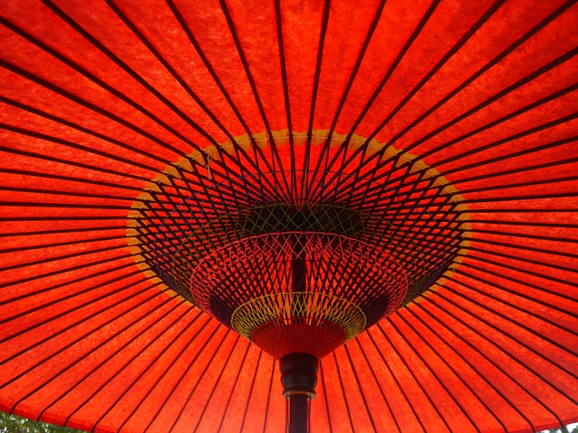 Umbrella, Radiation, Art, Asia, Red
