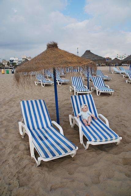 Beach, Boy, Baby, Blue, Sand, Umbrella, Spain, Valencia