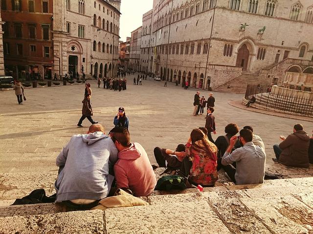 Perugia, Scalinata, Steps, Umbria, Italy
