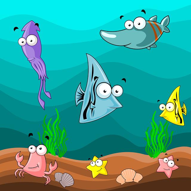 Undersea, Sea, Water, Fish, Crab, Starfish, Shellfish